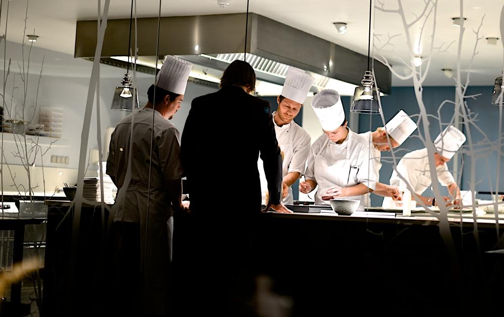 Rasmus Kofoed, 3 time Bocuse d'Or winner, at work in Geranium Kitchen.